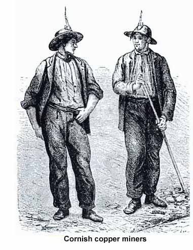Drawing of Cornish Copper Miners